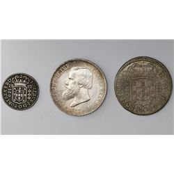 Lot of three Brazil silver coins: 2000 reis, 1888; 640 reis, 1695; 160 reis, 1752.