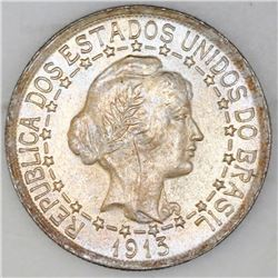 Brazil, 1000 reis, 1913, first type (border of connected stars on obverse and interrupted legend on