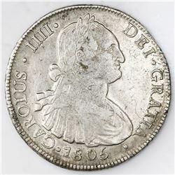 Santiago, Chile, bust 8 reales, Charles IV, 1805FJ.