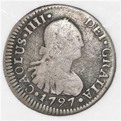 Santiago, Chile, 1/2 real, Charles IV, 1797DA, CAOLUS error, rare.