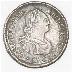 Santiago, Chile, 1/2 real, Charles IV, 1808/7FJ.