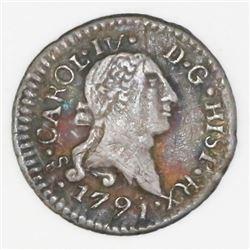 Santiago, Chile, 1/4 real, 1791/0, Charles IV transitional (bust of Charles III, ordinal IV), NGC VF