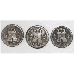 Lot of three Santiago, Chile, 1/4R: 1796, 1797, and 1798.