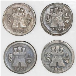 Lot of four Santiago, Chile, 1/4R: 1801 (two), 1802, and 1804.