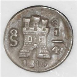 Santiago, Chile, 1/4 real, 1810.