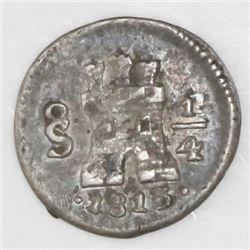 Santiago, Chile, 1/4 real, Ferdinand VII, 1813, NGC XF details / environmental damage.
