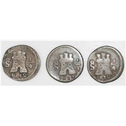 Lot of three Santiago, Chile, 1/4R: 1812 (two) and 1813.