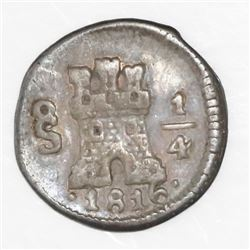 Santiago, Chile, 1/4 real, 1816.