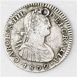 Bogota, Colombia, bust 1 real, Charles IV, 1802JJ.