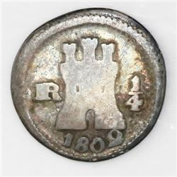 Bogota, Colombia, 1/4 real, 1802.