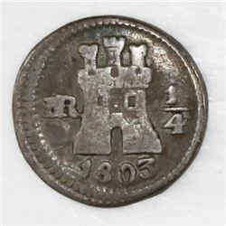Bogota, Colombia, 1/4 real, 1803/2.