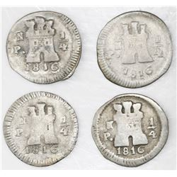 Lot of four Popayan, Colombia, 1/4 real, 1816.