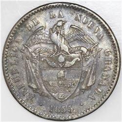 Bogota, Colombia, 1 peso, 1855.