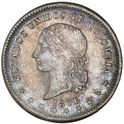 Bogota, Colombia, 5 decimos, 1871, NGC XF 45.