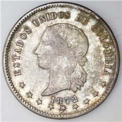 Bogota, Colombia, 50 centavos, 1872, NGC VF 30.