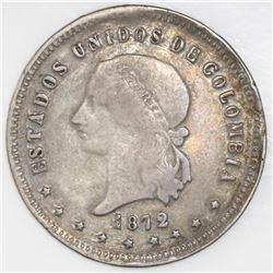 Medellin, Colombia, 5 decimos, 1872.