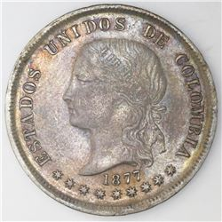 Bogota, Colombia, 50 centavos, 1877, NGC XF 40, finest and only known example in NGC census.
