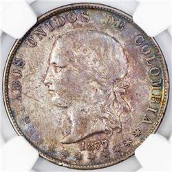 Medellin, Colombia, 5 decimos, 1877/4, large arms, NGC XF 40.
