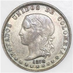 Medellin, Colombia, 5 decimos, 1878/4, large 8, NGC AU 50, finest known in NGC census.