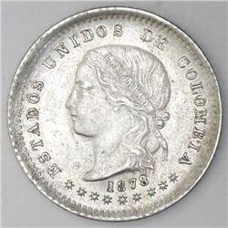 Bogota, Colombia, 10 centavos, 1878, NGC AU 55.