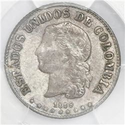 Medellin, Colombia, 10 centavos, 1885, fineness 0.500/0.835, PCGS AU53, finest and only example in P