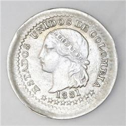 Bogota, Colombia, 5 centavos, 1881, NGC AU 58, finest and only known example in NGC census.