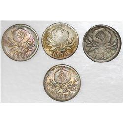 Lot of four Colombia coins: Popayan, 1869, 1/4 decimo; Bogota, 1871, 1/4 decimo; Bogota, 1880, 2-1/2