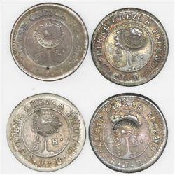 "Lot of four Costa Rica, 1/2R, ""lion"" countermark (Type VI, 1849-57) on Costa Rica (Central American"