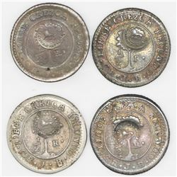 Lot of four Costa Rica, 1/2R,  lion  countermark (Type VI, 1849-57) on Costa Rica (Central American