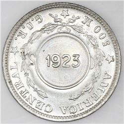 Costa Rica, 1 colon, 1923 counterstamp (Type VIII) on a Costa Rica 50 centimos 1917M, NGC UNC detail
