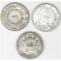 Lot of three Costa Rica 50 centimos with 1923 counterstamps (Type VIII) on Costa Rica 25 centavos: 1