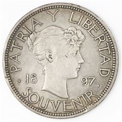 "Cuba (struck at the Gorham mint), ""souvenir"" peso, 1897, closely spaced date, star below baseline of"