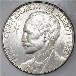 Cuba, 1 peso, 1953, NGC MS 62.