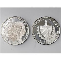 Lot of two Cuban proof 10 pesos: Piefort 1993, Bolivar and Marti; 1994, Manifesto of Montecristi.