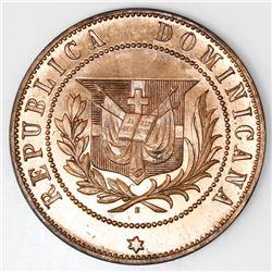 Dominican Republic, essai bronze 2 centavos, 1878, ex-Rudman.