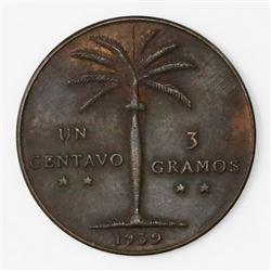 Dominican Republic, bronze 1 centavo, 1939, ex-Rudman.