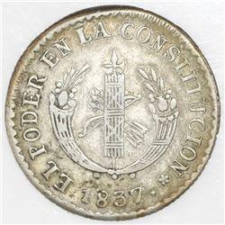 Quito, Ecuador, 2 reales, 1837FP.