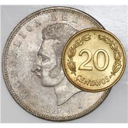 Lot of two Ecuador coins of 1944: 5 sucres (struck at the Mexico City mint); brass 20 centavos (stru