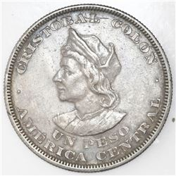 Lot of two El Salvador, 1 peso: 1893/2 and 1908.