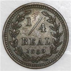 El Salvador, bronze 1/4 real, 1909.