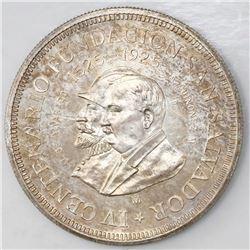 El Salvador (struck in Mexico City), 1 colon, 1925, 400th anniversary of the founding of San Salvado