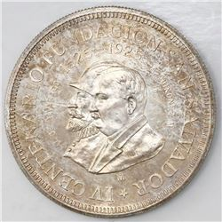 El Salvador (struck in Mexico City), 1 colon, 1925, 400th anniversary of the founding of San Salvado