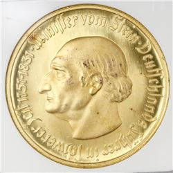 Westphalia, Germany, gilt-bronze notgeld 10000 mark, 1923, NGC MS 66.