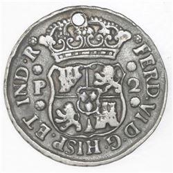 Lot of 2 Guatemala pillar minors (2R and 1/2R) of 1759P (Ferdinand VI).