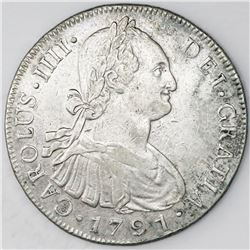 Guatemala, bust 8 reales, Charles IV, 1791M.