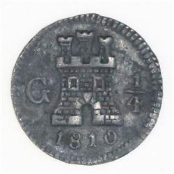 Guatemala, 1/4 real, 1810, NGC XF details / environmental damage.
