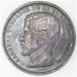 Lot of two Guatemala 1-peso coins: 1871R, Carrera; 1894.