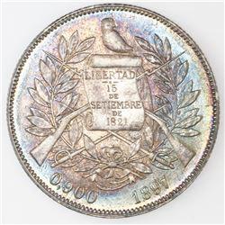 Guatemala, 1 peso, 1897, NGC AU 58.