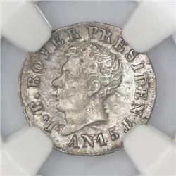 Haiti, 6 centimes, An 15 (1818), Petion, NGC MS 62, ex-Rudman (stated on label).