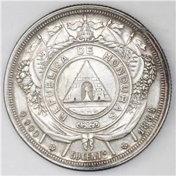Honduras, 50 centavos, 1884, NGC UNC details / obverse repaired.